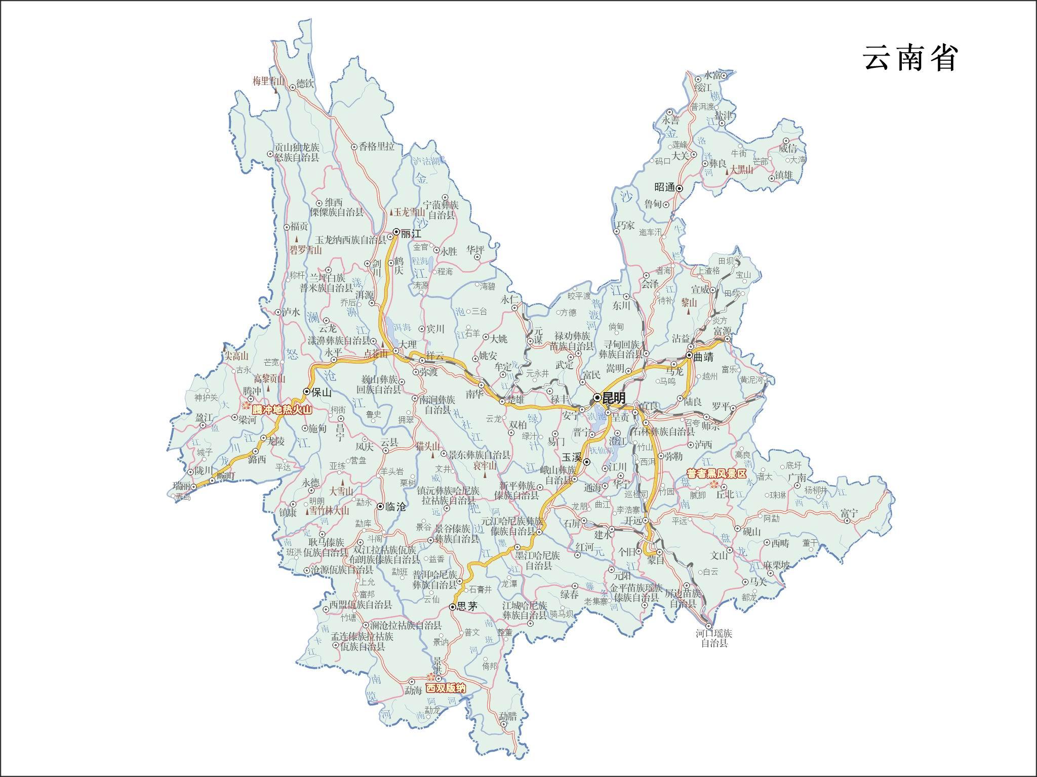 云南详细高清地图全图_云南旅游地图全图